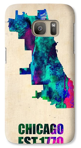 Chicago Watercolor Map Galaxy Case by Naxart Studio