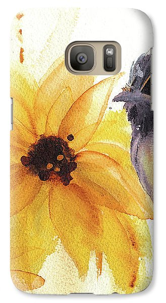 Galaxy Case featuring the painting Chickadee And Sunflowers by Dawn Derman