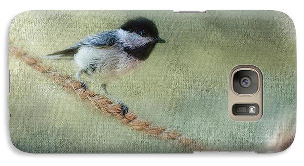 Chickadee At The Shore Galaxy Case by Jai Johnson