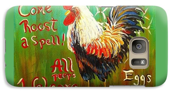 Galaxy Case featuring the painting Chicken Welcome 3 by Belinda Lawson