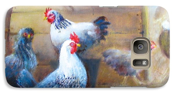 Galaxy Case featuring the painting Chickens All Cooped Up by Oz Freedgood