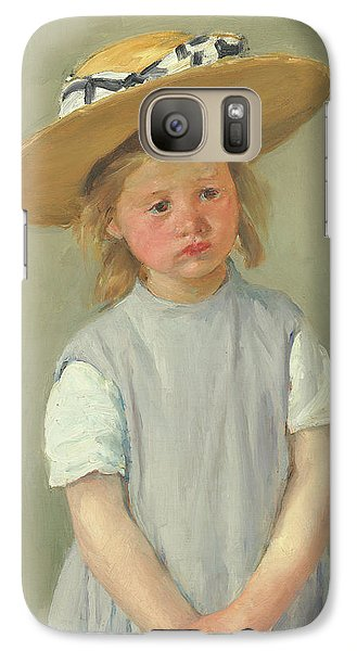 Galaxy Case featuring the painting Child In A Straw Hat By Mary Cassatt 1886 by Movie Poster Prints