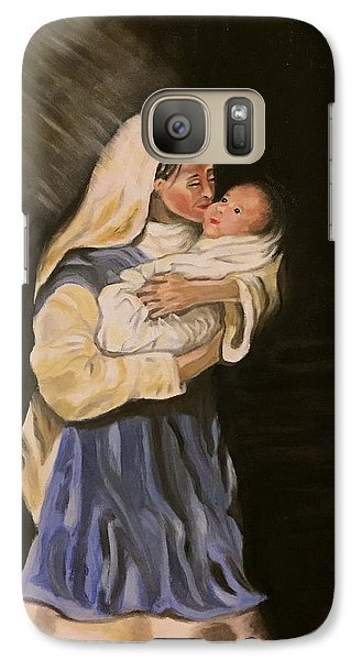 Galaxy Case featuring the painting Child In Manger by Brindha Naveen