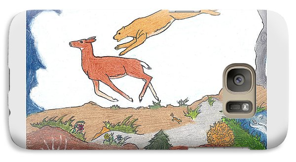 Galaxy Case featuring the drawing Childhood Drawing Cougar Attacking Deer by Dawn Senior-Trask