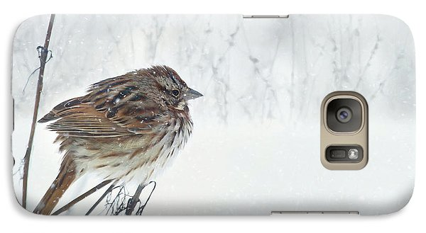 Galaxy Case featuring the mixed media Chilly Song Sparrow by Lori Deiter