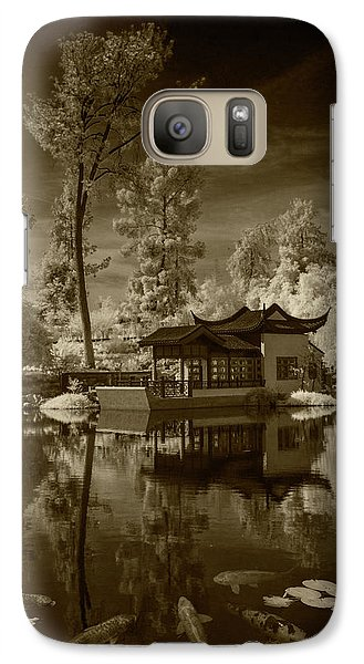 Galaxy Case featuring the photograph Chinese Botanical Garden In California With Koi Fish In Sepia Tone by Randall Nyhof