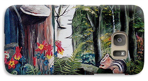 Galaxy Case featuring the painting Chipmunk On A Log by Renate Nadi Wesley