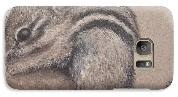 Galaxy Case featuring the drawing Chipmunk, Tn Wildlife Series by Annamarie Sidella-Felts