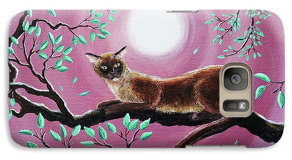 Chocolate Burmese Cat In Dancing Leaves Galaxy Case by Laura Iverson