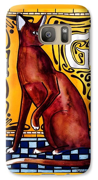 Galaxy Case featuring the painting Chocolate Delight - Havana Brown Cat - Cat Art By Dora Hathazi Mendes by Dora Hathazi Mendes