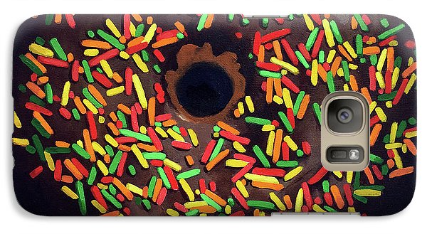 Galaxy Case featuring the painting Chocolate Donut And Sprinkles Large Painting by Linda Apple