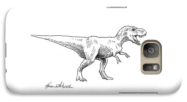 Tyrannosaurus Rex Dinosaur T-rex Ink Drawing Illustration Galaxy Case by Karen Whitworth