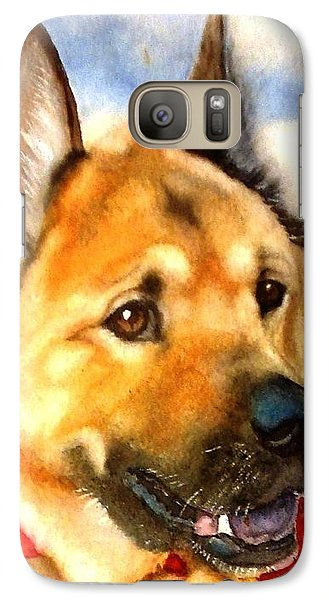 Galaxy Case featuring the painting Chow Shepherd Mix by Marilyn Jacobson