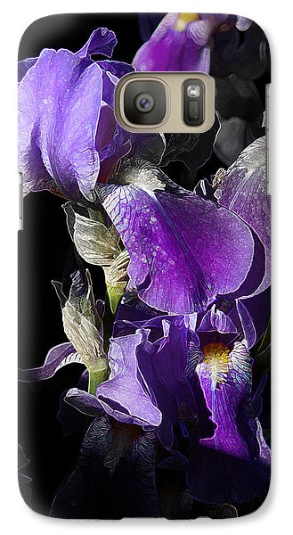 Galaxy Case featuring the photograph Chris' Garden - Purple Iris 1 by Stuart Turnbull