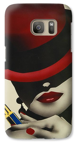 Galaxy Case featuring the painting Christion Dior Red Hat Lady by Jacqueline Athmann