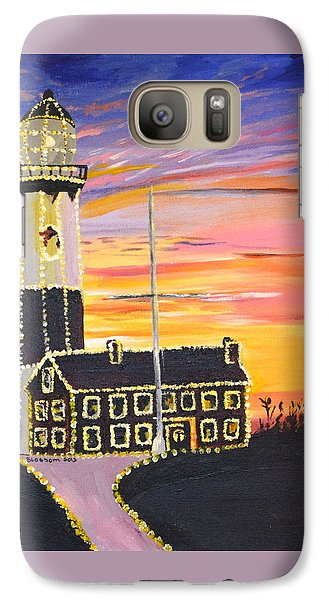 Galaxy Case featuring the painting Christmas At The Lighthouse by Donna Blossom