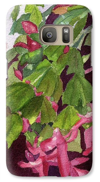 Galaxy Case featuring the painting Christmas Cactus by Lynne Reichhart