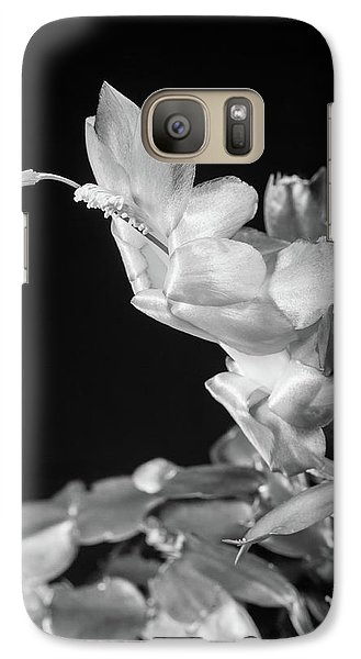 Galaxy Case featuring the photograph Christmas Cactus On Black by Ed Cilley
