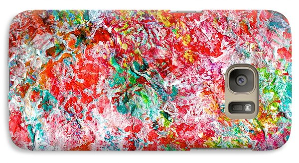 Galaxy Case featuring the painting Christmas Candy Color Poem by Polly Castor