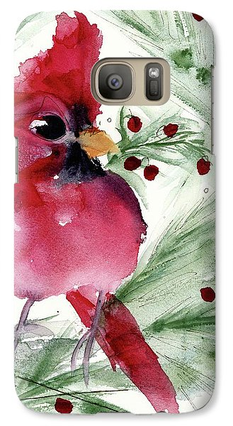 Galaxy Case featuring the painting Christmas Cardinal by Dawn Derman