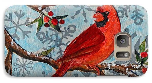 Galaxy Case featuring the mixed media Christmas Cardinal by Li Newton