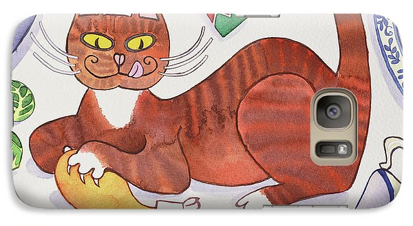 Christmas Cat And The Turkey Galaxy S7 Case by Cathy Baxter