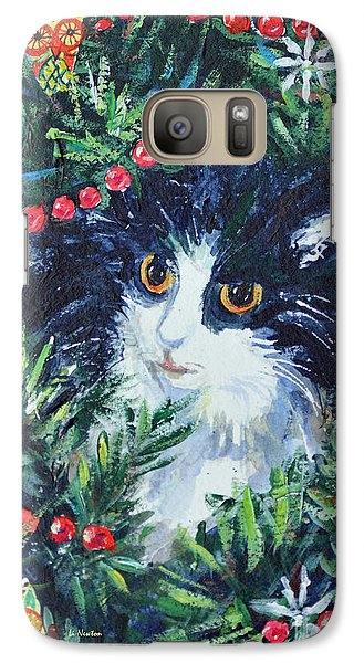 Galaxy Case featuring the painting Christmas Catouflage by Li Newton