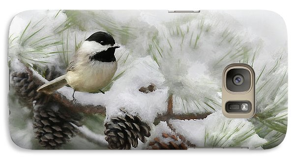 Galaxy Case featuring the photograph Christmas Chickadee by Lori Deiter