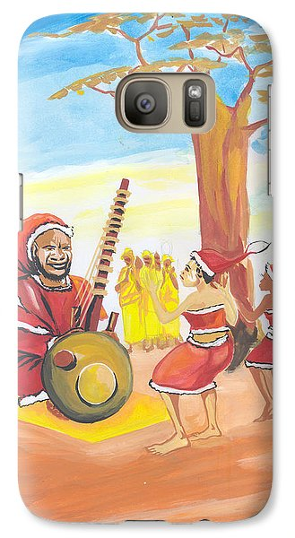 Galaxy Case featuring the painting Christmas In Senegal by Emmanuel Baliyanga