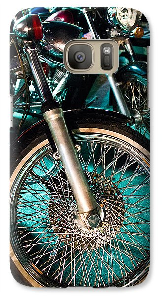 Galaxy Case featuring the photograph Chrome Rim And Front Fork Of Vintage Style Motorcycle by Jason Rosette