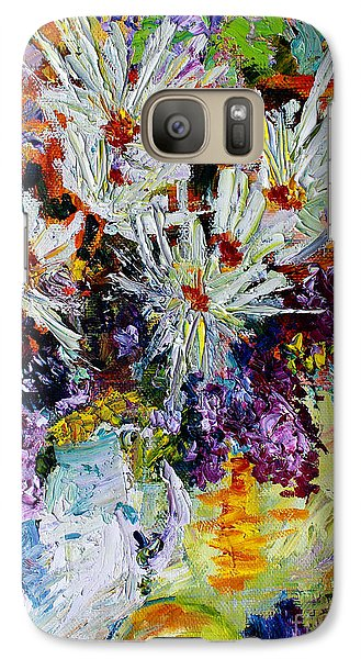 Galaxy Case featuring the painting Chrysanthemums And Lilacs Still Life by Ginette Callaway