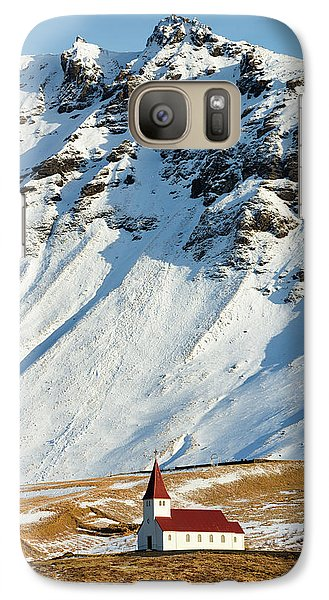 Galaxy Case featuring the photograph Church And Mountains In Winter Vik Iceland by Matthias Hauser