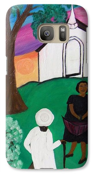 Galaxy Case featuring the painting Church Ladies  by Mildred Chatman
