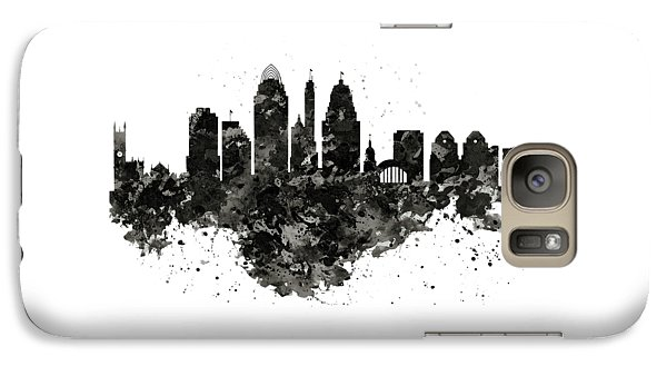 Galaxy Case featuring the mixed media Cincinnati Skyline Black And White by Marian Voicu
