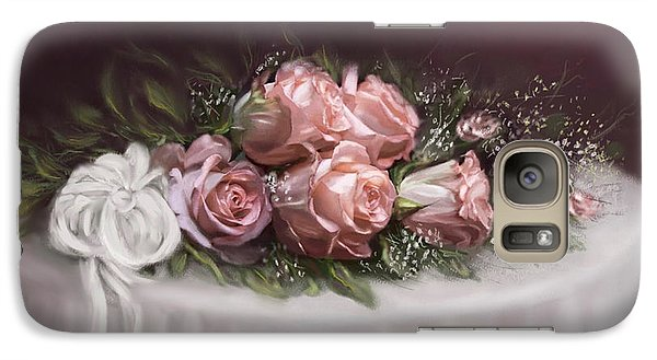 Galaxy Case featuring the painting Spray Of  Roses by Bonnie Willis