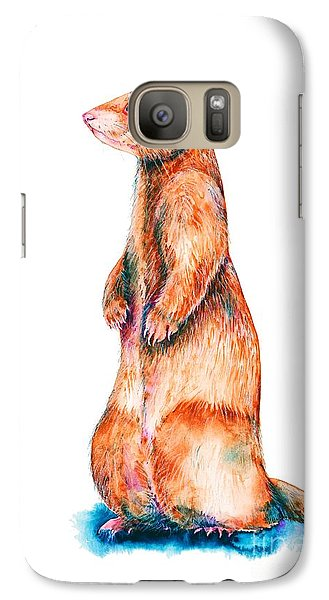Galaxy Case featuring the painting Cinnamon Ferret by Zaira Dzhaubaeva