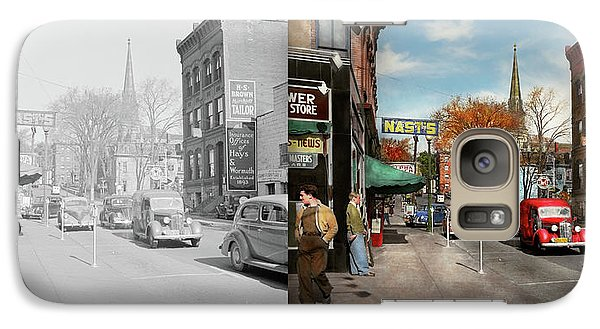 Galaxy Case featuring the photograph City - Amsterdam Ny - Downtown Amsterdam 1941- Side By Side by Mike Savad