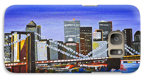 Galaxy Case featuring the painting City At Twilight by Donna Blossom
