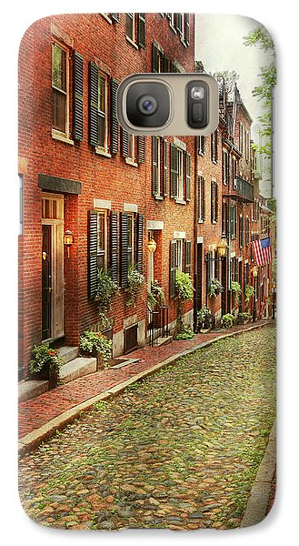 Galaxy Case featuring the photograph City - Boston Ma - Acorn Street by Mike Savad