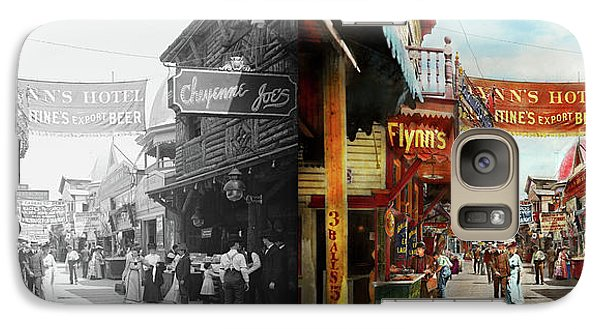 Galaxy Case featuring the photograph City - Coney Island Ny - Bowery Beer 1903 - Side By Side by Mike Savad