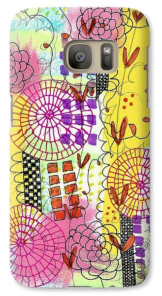 Galaxy Case featuring the mixed media City Flower Garden by Lisa Noneman