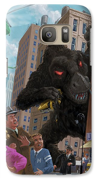 Galaxy Case featuring the digital art City Invasion Furry Monster by Martin Davey