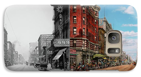 Galaxy Case featuring the photograph City - Memphis Tn - Main Street Mall 1909 - Side By Side by Mike Savad