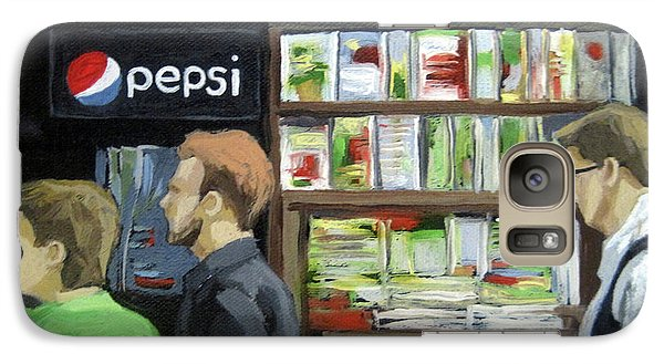 Galaxy Case featuring the painting City Newsstand - People On The Street Painting by Linda Apple