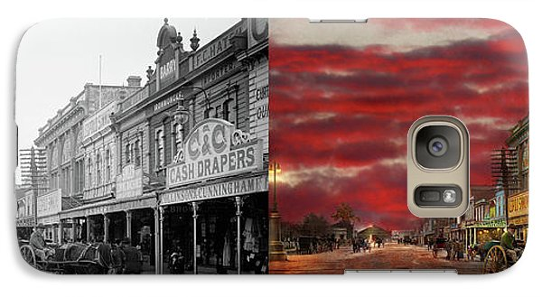 Galaxy Case featuring the photograph City - Palmerston North Nz - The Shopping District 1908 - Side By Side by Mike Savad