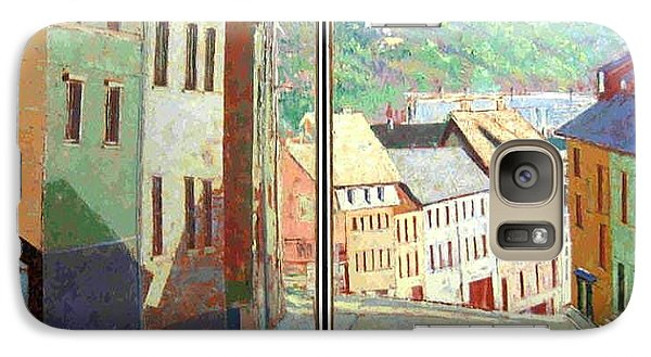 Galaxy Case featuring the painting City Scape-dyptich by Walter Casaravilla
