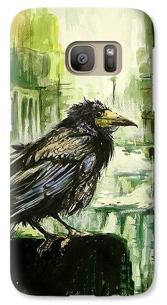 Falcon Galaxy S7 Case - Cityscape With A Crow by Suzann's Art