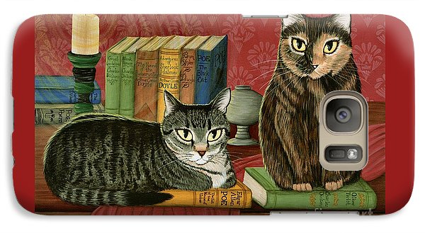 Galaxy Case featuring the painting Classic Literary Cats by Carrie Hawks