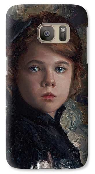 Galaxy Case featuring the painting Classical Portrait Of Young Girl In Victorian Dress by Karen Whitworth