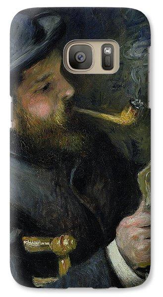 Claude Monet Reading A Newspaper Galaxy Case by Pierre Auguste Renoir